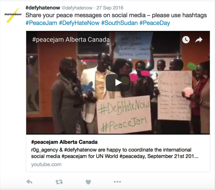 #defyhatenow social media #peacejam Alberta, Canada UN World Peace Day 21st September 2016